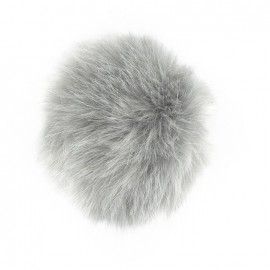 Round-shaped faux fur pompom - silver
