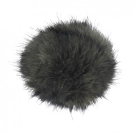 Round-shaped faux fur pompom - dark brown
