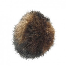 Round-shaped faux fur pompom - light brown