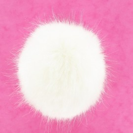 Round-shaped faux fur pompom - natural