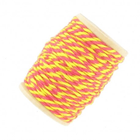 Cotton thread 15 mm, two-tone - yellow/fuchsia