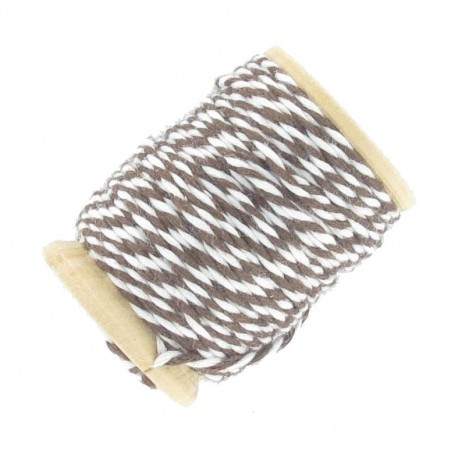 Cotton thread 15 mm, two-tone - brown/white