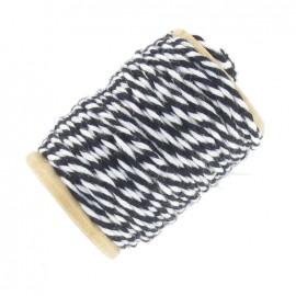 Cotton thread 15 mm, two-tone - black/white