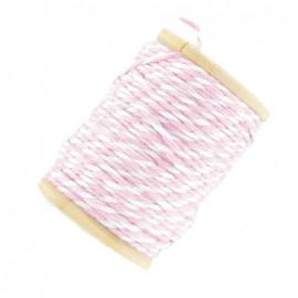 Fil de coton bicolore 15 m rose et blanc