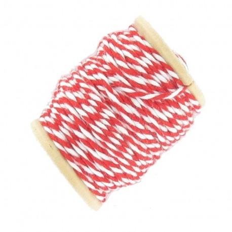 Fil de coton bicolore 15 m rouge et blanc