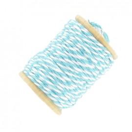 Fil de coton bicolore 15 m turquoise et blanc