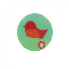 1 pack of 3 button Hello Tokyo, Bird, from Robert Kaufman - orange/green