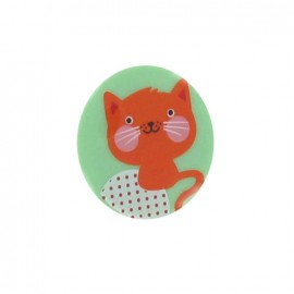 1 pack of 3 button Hello Tokyo, Cat, from Robert Kaufman - orange/green