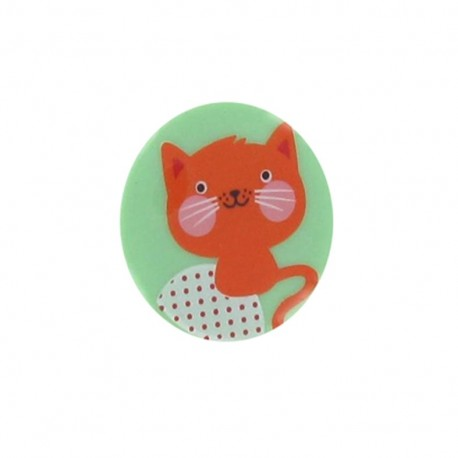 1 pack of 3 button Hello Tokyo, Cat, from Robert Kaufman - orange/green