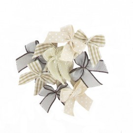 A pack of 10 bows 3cm x 3cm iron-on applique - taupe