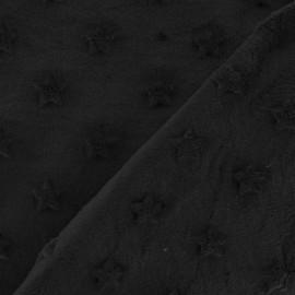 Tissu velours minkee doux relief à étoiles noir x 10cm