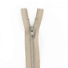 Aluminium Closed bottom zipper  - putty coloured