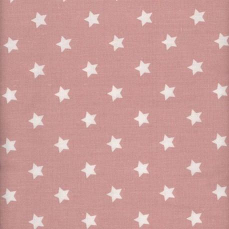 Tissu enduit coton étoiles warm rosex 10cm