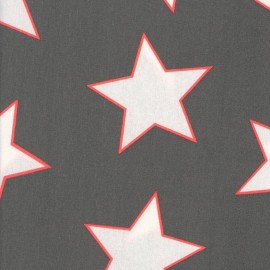 Giant Stars Coated Cotton Fabric - Charcoal neon x 10cm