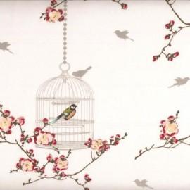 Tissu enduit coton Birdcage - White x 30cm