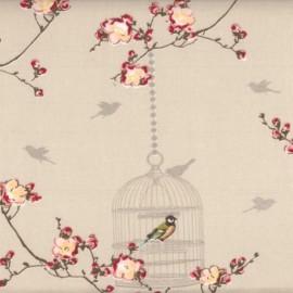 Birdcage cotton fabric - Toffee x 30cm