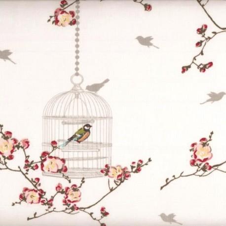 Birdcage cotton fabric - White x 30cm