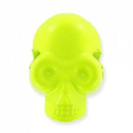 Button/bead, skull - fluorescent yellow