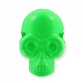 Button/bead, skull - fluorescent green