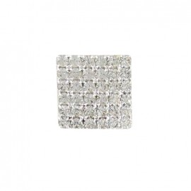 Button, square-shaped with 36 rhinestones - grey