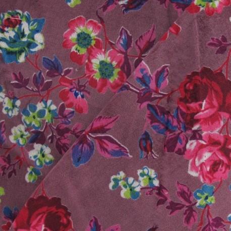 Fabric Velours ras fleuri prune claire x10cm