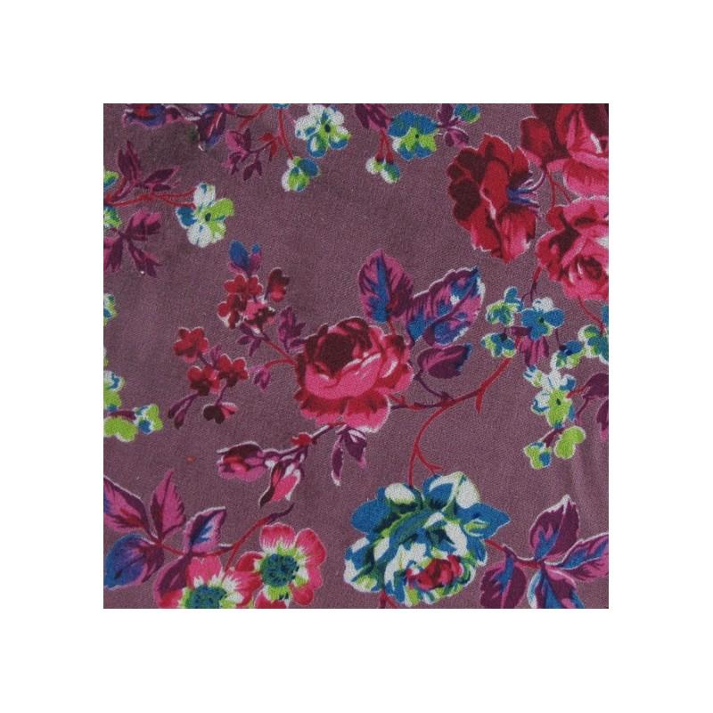 0a6eaeeb74ce Tissu Velours ras fleuri prune claire x10cm - Ma Petite Mercerie
