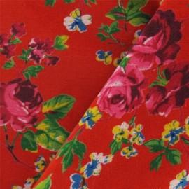 Tissu Velours ras fleuri rouge x10cm