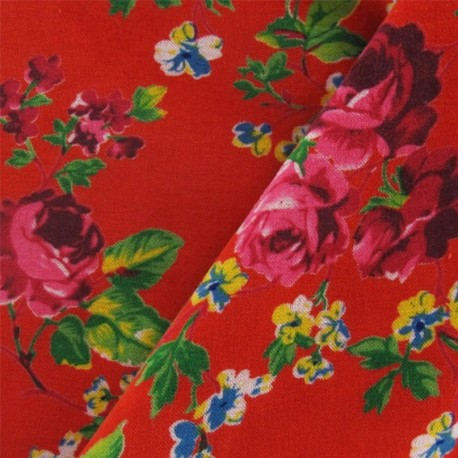 Fabric Velours ras fleuri rouge x10cm