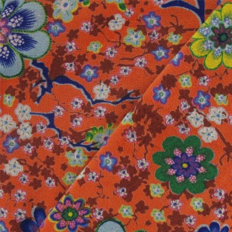 0f587a106bb7 Tissu Velours éponge jersey fleuri orange x 10cm - Ma Petite Mercerie