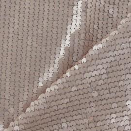 Tissu paillettes sirène mat rose poudré x10cm