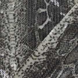 Tissu animal paillettes beige x10cm