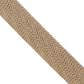 Polypropylene strap, herringbone 25 mm - beige