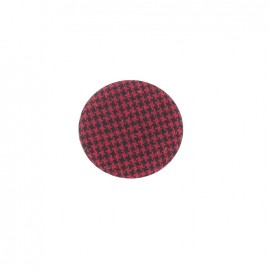 Covered button, Hound's tooth cloth - red