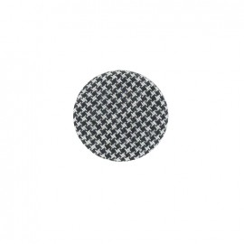 Covered button, Hound's tooth cloth - black