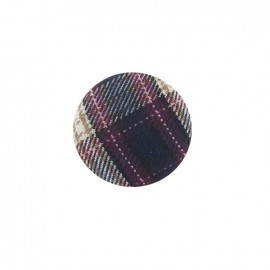 Covered button, Tartan - purple
