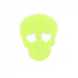 ♥ Spangled Skull iron-on applique - fluorescent yellow  ♥