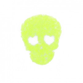 Spangled Skull iron-on applique - fluorescent yellow