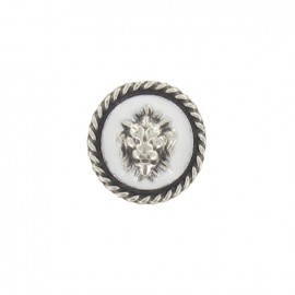 Medallion button, Lion's head - white/silver