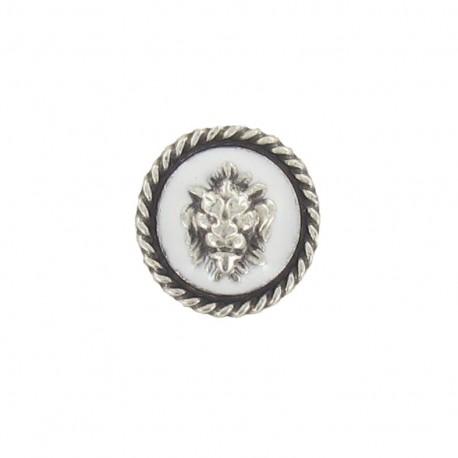 Medallion button, Lion's head - white/silver