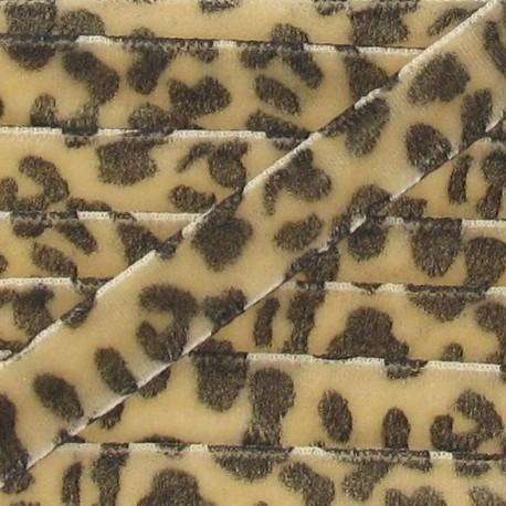 Ruban velours animal beige