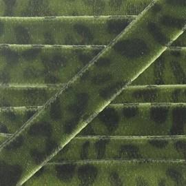 Ruban velours animal vert militaire