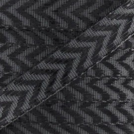 Lurex herringbone-pattern ribbon - grey/black