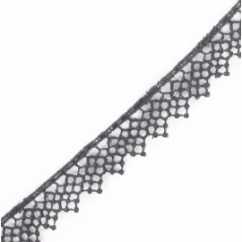 Guipure lace, Net Flowers 15 mm - grey