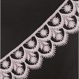 Guipure lace, Flowered 41 mm - pink