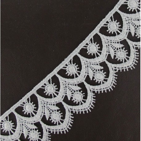 Guipure lace, Flowered 41 mm - light grey