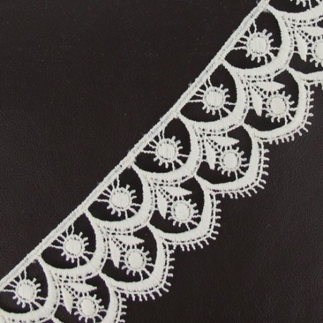 Guipure lace, Flowered 41 mm - ecru