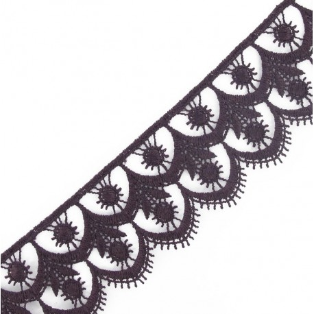 Guipure lace, Flowered 41 mm - purple