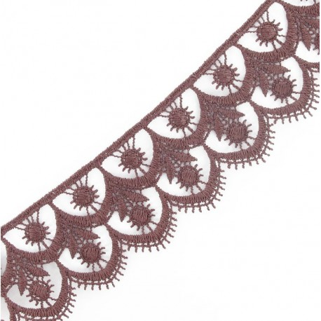 Guipure lace, Flowered 41 mm - burgundy