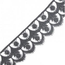 Guipure Fleuri 41 mm Gris