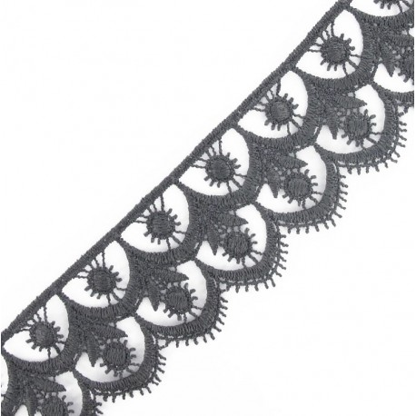Guipure lace, Flowered 41 mm - grey